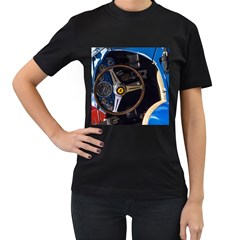 Steering Wheel Ferrari Blue Car Women s T-Shirt (Black) (Two Sided)