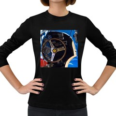 Steering Wheel Ferrari Blue Car Women s Long Sleeve Dark T-Shirts