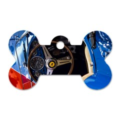 Steering Wheel Ferrari Blue Car Dog Tag Bone (Two Sides)