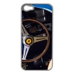 Steering Wheel Ferrari Blue Car Apple iPhone 5 Case (Silver)