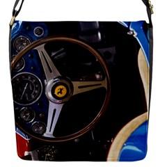 Steering Wheel Ferrari Blue Car Flap Messenger Bag (S)
