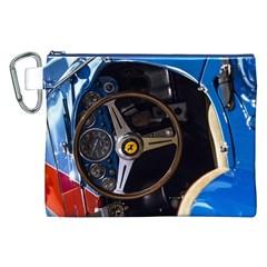 Steering Wheel Ferrari Blue Car Canvas Cosmetic Bag (XXL)