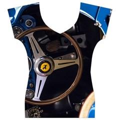 Steering Wheel Ferrari Blue Car Women s V-Neck Cap Sleeve Top