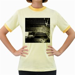 Urban Scene Street Road Busy Cars Women s Fitted Ringer T-Shirts