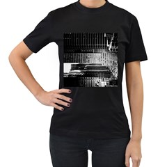 Urban Scene Street Road Busy Cars Women s T-Shirt (Black) (Two Sided)