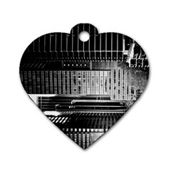 Urban Scene Street Road Busy Cars Dog Tag Heart (Two Sides)