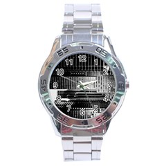 Urban Scene Street Road Busy Cars Stainless Steel Analogue Watch