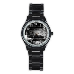 Urban Scene Street Road Busy Cars Stainless Steel Round Watch