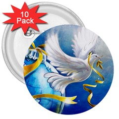 Turtle Doves Christmas 3  Buttons (10 pack)