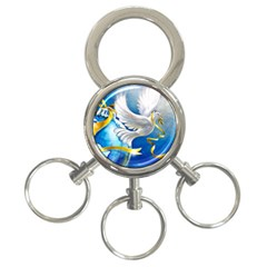 Turtle Doves Christmas 3-Ring Key Chains