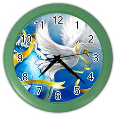 Turtle Doves Christmas Color Wall Clocks