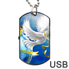 Turtle Doves Christmas Dog Tag USB Flash (Two Sides)