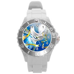 Turtle Doves Christmas Round Plastic Sport Watch (L)