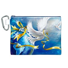 Turtle Doves Christmas Canvas Cosmetic Bag (XL)