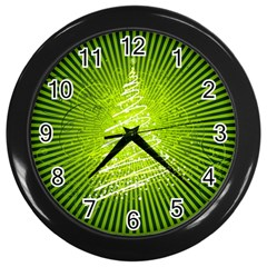 Vector Chirstmas Tree Design Wall Clocks (Black)