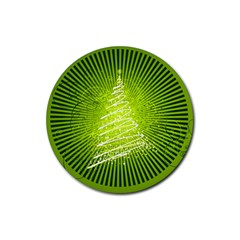 Vector Chirstmas Tree Design Rubber Round Coaster (4 pack)