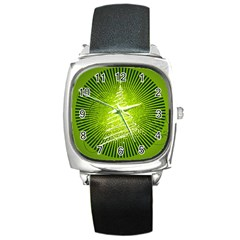 Vector Chirstmas Tree Design Square Metal Watch