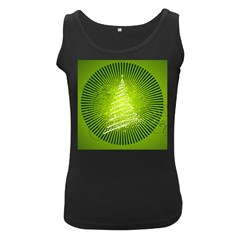 Vector Chirstmas Tree Design Women s Black Tank Top