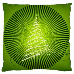 Vector Chirstmas Tree Design Large Flano Cushion Case (One Side)