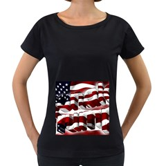 Usa America Trump Donald Women s Loose-Fit T-Shirt (Black)