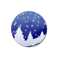 Vector Christmas Design Rubber Round Coaster (4 pack)