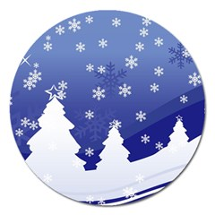 Vector Christmas Design Magnet 5  (Round)