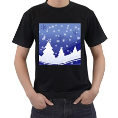 Vector Christmas Design Men s T-Shirt (Black) (Two Sided)