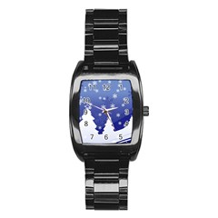 Vector Christmas Design Stainless Steel Barrel Watch