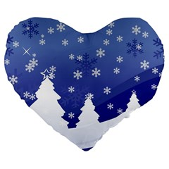 Vector Christmas Design Large 19  Premium Flano Heart Shape Cushions