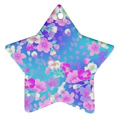 colorful pastel flowers  Ornament (Star)