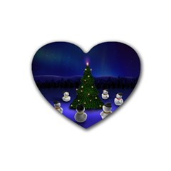 Waiting For The Xmas Christmas Rubber Coaster (Heart)