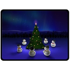 Waiting For The Xmas Christmas Fleece Blanket (Large)