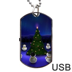 Waiting For The Xmas Christmas Dog Tag USB Flash (One Side)