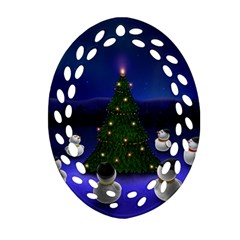Waiting For The Xmas Christmas Oval Filigree Ornament (2-Side)