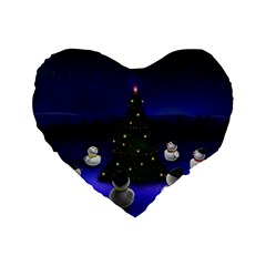 Waiting For The Xmas Christmas Standard 16  Premium Heart Shape Cushions