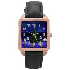 Waiting For The Xmas Christmas Rose Gold Leather Watch