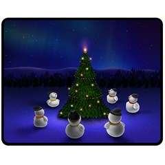 Waiting For The Xmas Christmas Double Sided Fleece Blanket (Medium)