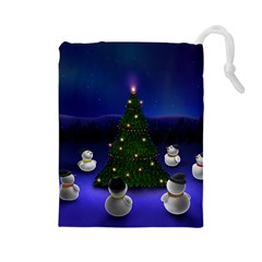 Waiting For The Xmas Christmas Drawstring Pouches (Large)