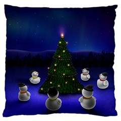 Waiting For The Xmas Christmas Large Flano Cushion Case (Two Sides)