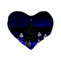 Waiting For The Xmas Christmas Standard 16  Premium Flano Heart Shape Cushions