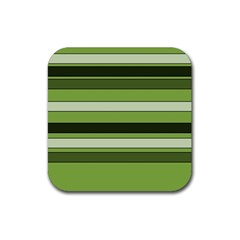 Greenery Stripes Pattern Horizontal Stripe Shades Of Spring Green Rubber Coaster (Square)
