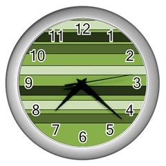 Greenery Stripes Pattern Horizontal Stripe Shades Of Spring Green Wall Clocks (Silver)
