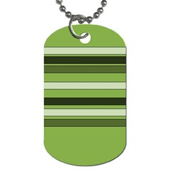 Greenery Stripes Pattern Horizontal Stripe Shades Of Spring Green Dog Tag (One Side)