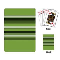 Greenery Stripes Pattern Horizontal Stripe Shades Of Spring Green Playing Card