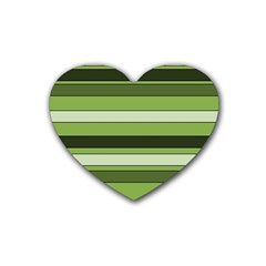 Greenery Stripes Pattern Horizontal Stripe Shades Of Spring Green Rubber Coaster (Heart)