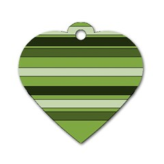 Greenery Stripes Pattern Horizontal Stripe Shades Of Spring Green Dog Tag Heart (One Side)