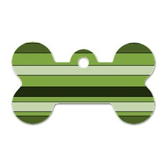 Greenery Stripes Pattern Horizontal Stripe Shades Of Spring Green Dog Tag Bone (Two Sides)