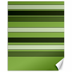 Greenery Stripes Pattern Horizontal Stripe Shades Of Spring Green Canvas 11  x 14