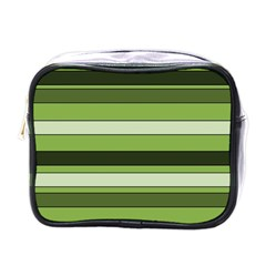 Greenery Stripes Pattern Horizontal Stripe Shades Of Spring Green Mini Toiletries Bags