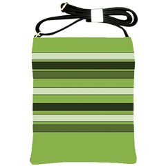 Greenery Stripes Pattern Horizontal Stripe Shades Of Spring Green Shoulder Sling Bags
